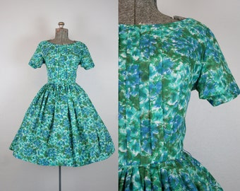 1950's Green and Blue Cotton Party Dress / Size Small