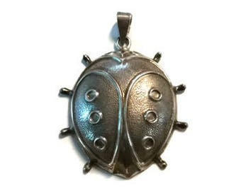 Vintage RM Trush Sterling Silver Lady Bug Pendant