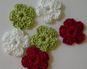 Crocheted Flowers - White, Green and Red - Forget-Me-Nots - Cotton Appliques - Cotton Embellishments - Set of 6