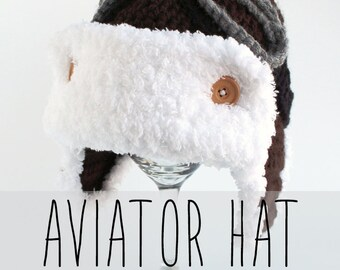 Aviator Hat with Ear Flaps and Goggles Crochet Pattern