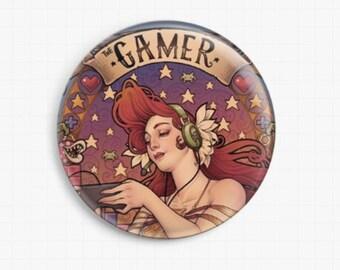 Needle Minder, Licensed Art By Medusa Dollmaker, Gamer Nouveau,  Cross Stitch Keeper,  Fridge Magnet, Pattern Holder,