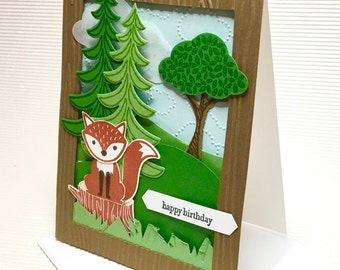 Happy birthday woodlands fox card set (5) handmade stamped die cuts blank masculine children stationery greeting card party supplies paper
