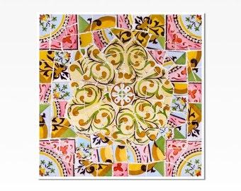 Barcelona, Spanish Tile, Home Decor, Wall Art Print, Wall Decor, mosaic wall art, gallery wall