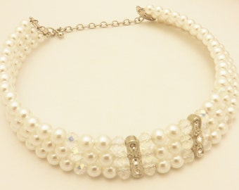 Vintage Silver Tone Rhinestone Faux Pearl Necklace Bridal Jewelry