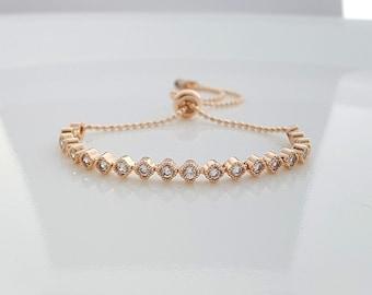 Rose Gold Bridal Bracelet, Bridesmaid Bracelet, Crystal Bridal Bracelet, Simple Bridal Bracelet, Gold, Wedding Bracelet, Celia Bracelet