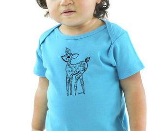 Deer Baby Clothes, Fawn Infant Bodysuit, Scuba Blue Organic Cotton Baby Onepiece, Short Sleeved Romper, Made in USA, Aquamarine tee shirt