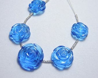 5 Pcs Very Attractive Swiss Blue Quartz Hand Carved Rose Flower Beads Size 17X17 - 13X13 MM