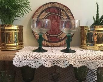 Vintage cactus margarita glasses set of two