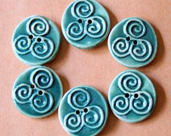 6 Handmade Buttons - Moss Green Triple Spiral Buttons in Deep Green Stoneware - Celtic Focal Buttons - Artisan Buttons for handknit