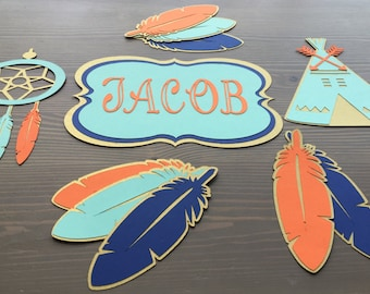 Boho Teepee Feather Baby Shower Party Decorations  Tribal Party