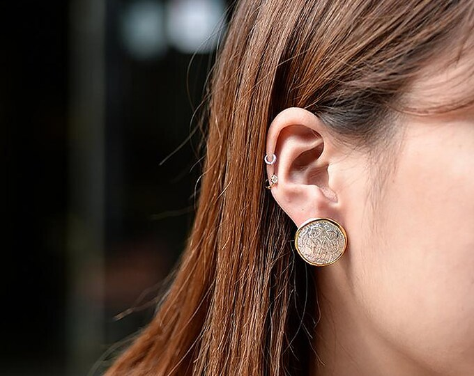 Vintage Coin Earring | Coin Stud Earring | Silver Gold Studs | Greek Coin Earring | Two Tone Studs | Large Studs | Vintage Post Earring