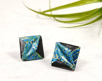 Boucles d'oreilles turquoises | Bijou en papier  | Boucles d'oreilles puces | Origami par Ökibo