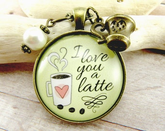 I Love You a Latte Love Quote Coffee Necklace Valentines Gift Pendant Necklace Coffee Lover Gift Ideas for Her Espresso Jewelry