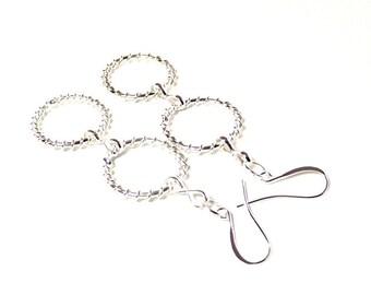 Silver Double Circle Earrings