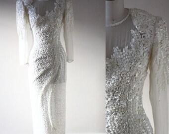 1980s white beaded dress // 1980s wedding dress // vintage wedding dress
