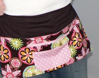 Lotsa Pockets Apron, Vendor- Teacher- Server- Utility Apron - 6 Pocket Apron (zipper money pocket) Carnival Bloom, made to order in 2 sizes