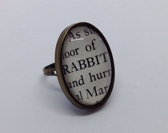 Vintage Book Ring - Alice in Wonderland RABBIT