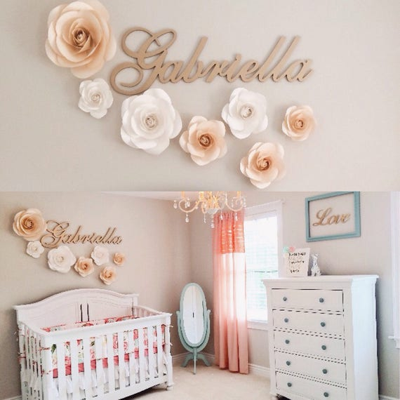 13 Wall Designs Decor Ideas For Nursery: Large Paper Flowers Nursery Wall Decor Paper Flower Decor