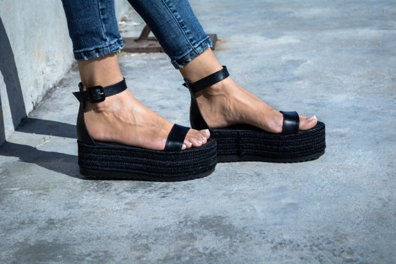 flatform sandals black sandals Flatform wedge greek Black Sandals espadrille leather sandals genuine