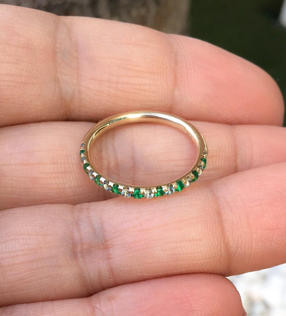 Alternating Eternity Band Emerald Aquamarine Pave Matching Band 14K ...