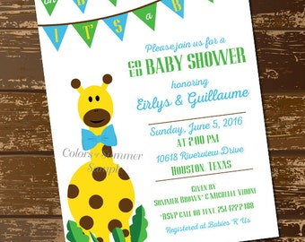 Giraffe Baby Shower Invitation, Co Ed Baby Shower Invitation, Blue And  Green, Itu0027s A Boy Invite, Oh Baby, Giraffe Theme   Digital File