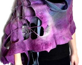 Nuno Felted Scarf, Ruffled, Wavy, Lavender Purple Steel Blue Gray, With Lacy Fishnet Elements, Silk Merino Wool Felted Wrap
