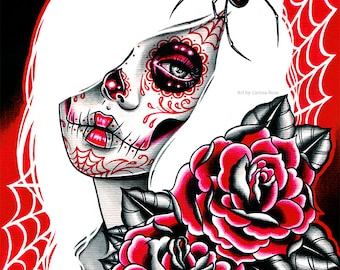 Black Widow by Carissa Rose | 5x7, 8x10, or 10.5x13.75 inch Signed Art Print | Tattoo Style Sugar Skull Girl With Black Widow Spider