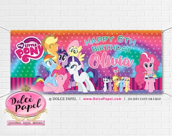 My Little Pony Birthday Party Banner Pink and Purple Rainbow Vinyl Banner 6'x2.5' with Grommets