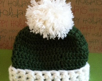 Christmas Baby Hat Crochet Sequins PomPom Girls Boys Color Choice Soft Warm Cozy Color Choice (Preemie-One Year Old) Photography Photo Prop