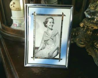Vintage 1940's 1930's Photo Frame Silver Metal Blue White Mat Metalic Foil Border Trim 5x4 3x2 Photograph Picture Retro Decor Smiling Woman
