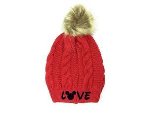 Love Mickey Embroidery Knit Hat White & Soft Pom Pom Beanie Fur Pom
