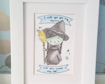 """Wicked Witch Original 4""""x6"""" Watercolour Illustration"""