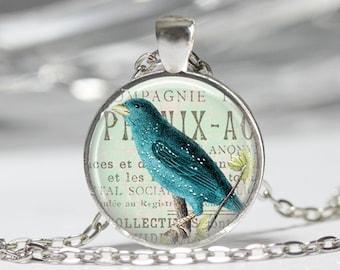 Blue Bird Jewelry Bird Necklace Wearable Art Blue Bird Necklace