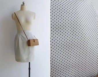 Vintage 80's Mini Polka Dot Faux Wrap Tulip Skirt XXS or XS