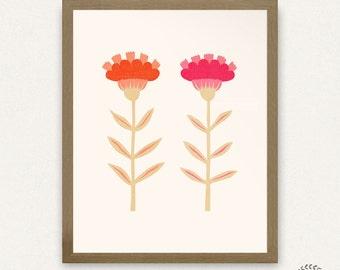8x10 Pink Folk Flowers - Printable Art