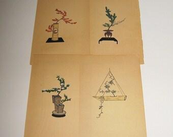 Arte asiático Vintage 4 pieza dibujos lápiz y tinta tapices