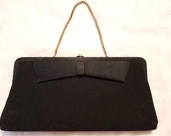 Vintage Black Clutch Purse Chain Evening Formal Coin Makeup Bag