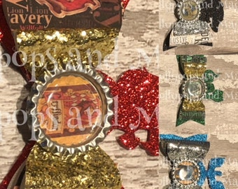 Collection of 4 hair Bows Inspired by Harry Potter Houses, Hair Bows, Gryffindor, Slytherin, Hufflepuff, Ravenclaw