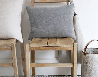 Grey Herringbone Wool Scatter Cushion