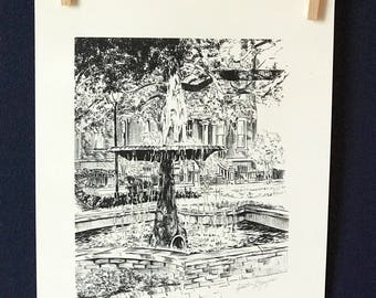 Savannah Columbia Square Fountain Pen and Ink Black and White Print