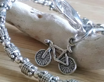 Bicycle Charm Bracelet , Bike Jewelry,  Gift for Cyclist ,  Spin Class  Bracelet , Cycling Jewelry , Bicycle Jewelry , Fitness Jewelry