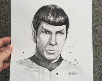 Spock Watercolor Painting ORIGINAL Portrait, Star Trek Leonard Nimoy Art 9x12