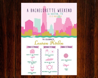 Bachelorette or Bachelor Party Invitation & Itinerary, Austin Texas Weekend Trip Schedule Downloadable Custom Printable File!