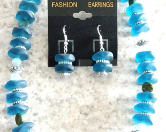 Blue Glass and  Aquamarine Beaded Necklace and Earring Set