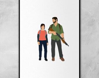 Ellie & Joel   The Last of Us   Minimal Artwork Poster