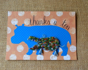 Thank You Card, Thanks A Ton Card, Handmade Thank You Card with Keyring