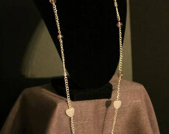 Long Rose Gold Chain with Pink Beads