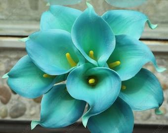 VANRINA Teal Calla Lily Real Touch 10 Stems Calla Lily Bouquet Artificial Calla Lilies For Bridal Bridesmaid Bouquet Centerpieces MTL-FLN007