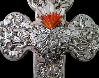Sacred Heart Cross, Milagros Folk Art, Ex Voto, Sagrado Corazon, 5th Anniversary Gift, Wood Anniversary