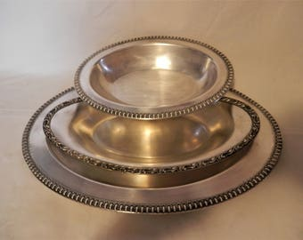 Wilcox Silver Plate Group of 3 Large Platter and Serving Vegetable Bowls Vintage